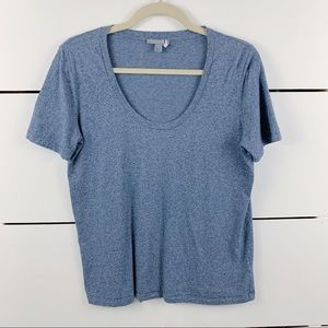 COS Scoop Neck T-Shirt Heather Blue Size Small